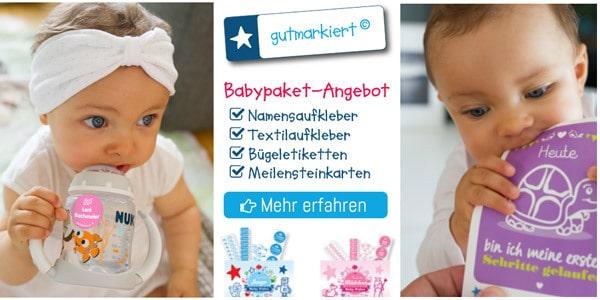Das Gutmarkiert Babypaket hat alles, was du an Aufklebern und Etiketten im ersten Jahr brauchst.