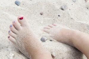 Rote Fußnägel