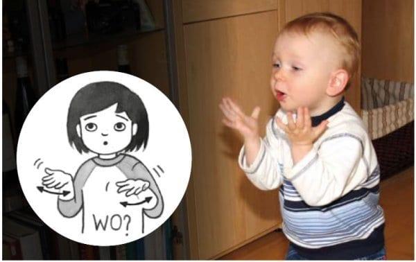 Baby zeigt Wo mit Kindergebährde