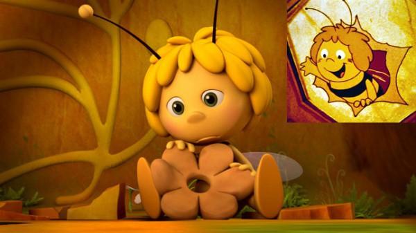 Biene Maja im Original und 3D