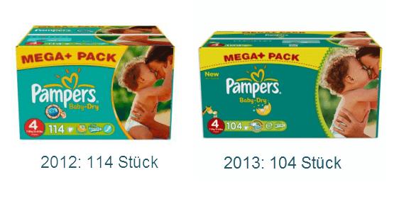 Inhalt Pampers Baby Dry Megapack im Vergleich