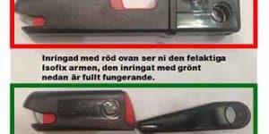 Rot markierte Isofix-Arm hat Test nicht bestanden (© Axid)