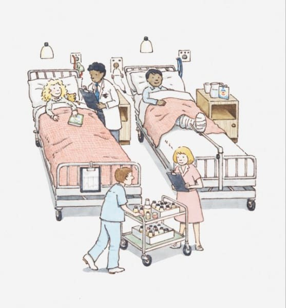 Kleine Patienten im Krankenzimmer (© Illustration Dorling Kindersley / Thinkstock)