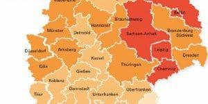 Kinderarmut in Deutschland nach Regierungsbezirken, Stand 2012(© WSI; Mikrozensus 2012, IT.NRW Bundesagentur für Arbeit 2013)