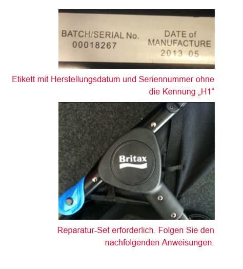 """Die Kinderwagenmodell B-Agile 3 ohne Kennung """"H1"""" sind betroffen (© Britax)"""