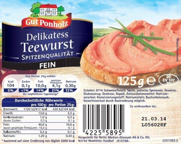 Rückruf wegen Salmonellen: Verkauf von Delikatess Teewurst aus Netto Marken-Discount gestoppt (Bild: http://www.lebensmittelwarnung.de)