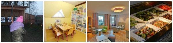 Bogenschießen, Spielen im Kinnerhaus, Lesen und ein Blick aufs Büffet © DJH-Resort