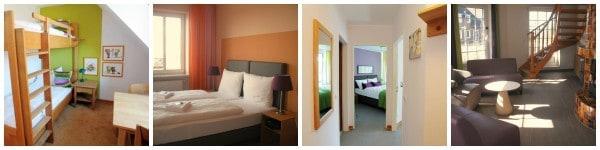 Einblick in die Familien-Appartments. Links das Kinderzimmer, in der Mitte das Schlafzimmer und rechts der Eingangsbereich ©S.Plagge, DJH-Resort