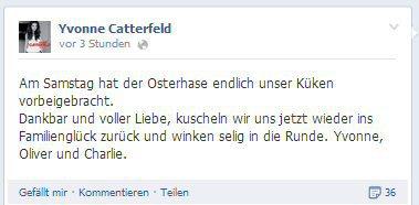 Die frohe Osterbotschaft von Yvonne Catterfeld auf Facebook