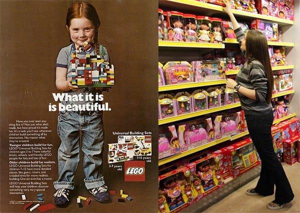 Links: Lego Werbung: Anzeige aus den 70er Jahren (© Lego) / rechts: Spielzeugregal 2008 (© Getty Images News)