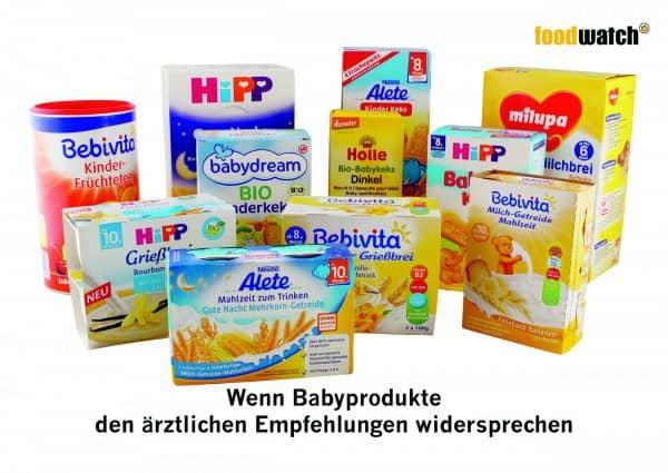 Wenn Babyprodukte den ärztlichen Empfehlungen widersprechen (Bild: © Foodwatch)
