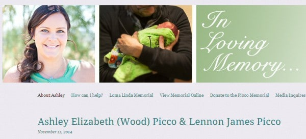 Screenshot der Gedenkseite für Ashley und Lennon Picco