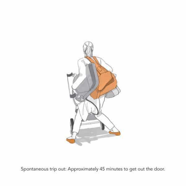 Illustration Alltag mit Kinderwagen