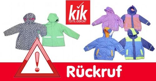 Rückruf bei KiK: Regenjacken für Kinder