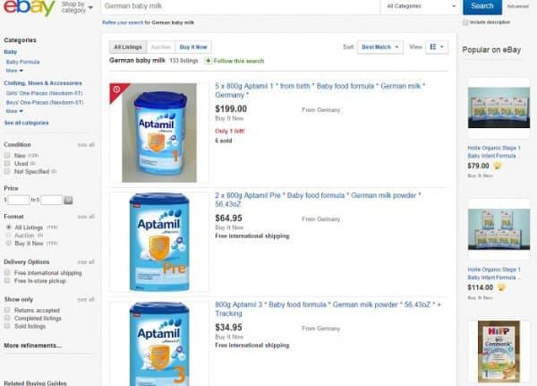 German Baby Food  - bei Käufern und privaten Händlern beliebt (c) Screenshot ebay.com