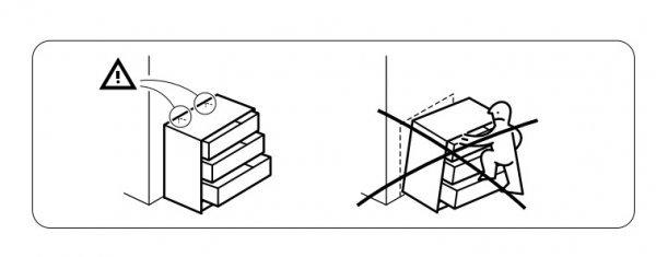 In der Malm- Aufbauanleitung wird gewarnt © Ikea