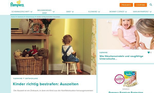 Der umstrittene Artikel  ©Screenshot/pampers.de