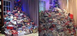 Geschenkeberg: 300 Geschenke unter dem Weihnachtsbaum (© Emma Tapping / Instagram)