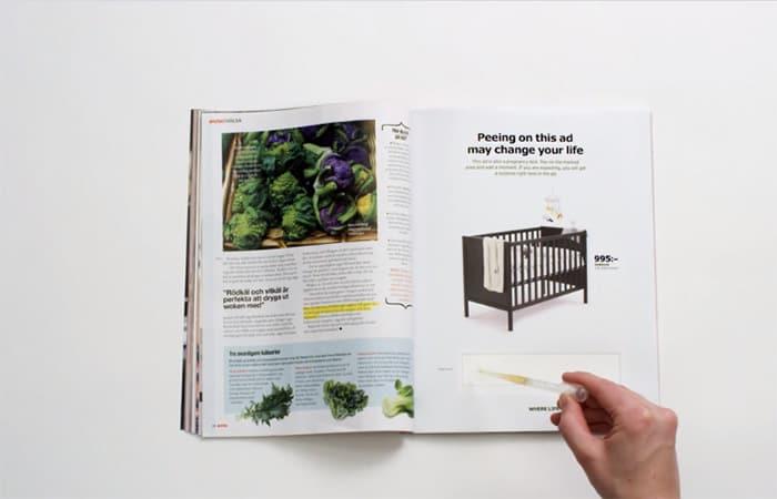 Skurriler IKEA Schwangerschaftstest: auf Werbung pinkeln und Rabatt bekommen (© Screenshot IKEA Werbung)