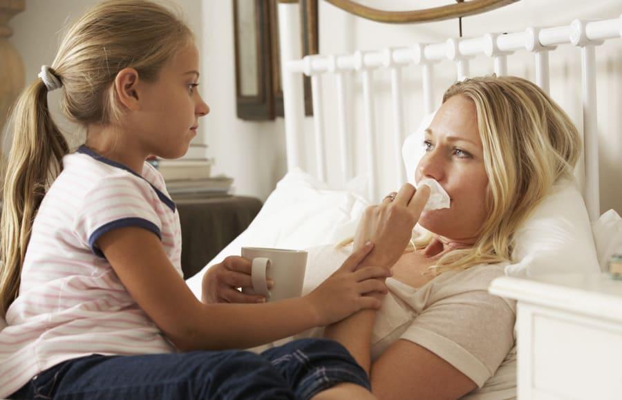 Wenn Mütter krank werden - Mutter krank im Bett